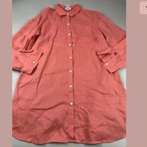 J  Jill Pink Coral Love Linen Button Shirt SZ M
